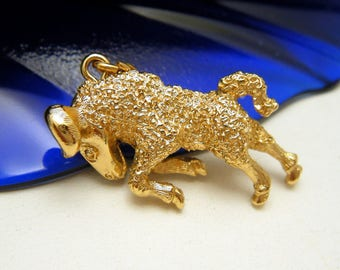 Vintage Monet Charm Aries Ram Zodiac Horoscope Astrology Symbol Gold Tone