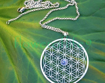 Flower of life with tanzanite (1 3/4) Stainless Steel