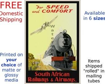 South African Railways & Airways - Vintage Travel Poster (531457325)