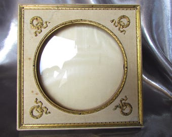 Antique French Victorian Small Photo Frame, Brass Repulsed, Silk, Empire Style