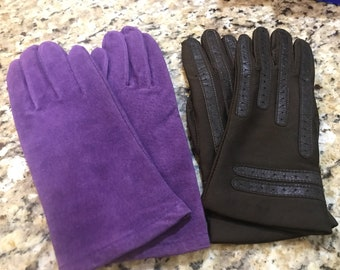 Lot of 2 sets of Vintage gloves. Purple suede?, brown nylon/faux leather.
