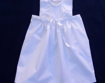 Dress pleated white ceremony or christening baby ribbing - 6 months