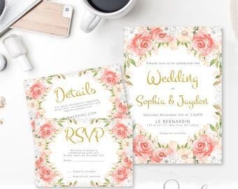 Wedding Invitation Suite Rsvp Detail card, Boho Romantic, Watercolor flowers Peach Pink Roses Invitation Suite DIY, DIGITAL FILES, WS17
