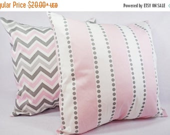 15% OFF SALE Pink Pillow Covers - Two Pillow Covers Baby Pink Grey and White - Throw Pillow Couch Pillow Cushion Cover Accent Pillow