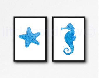 Blue Seahorse And Starfish Set Of 2 Prints Watercolor Painting Print Blue Beach Decor Wall Art Nautical Print Wall Decor Seahorse Art Print
