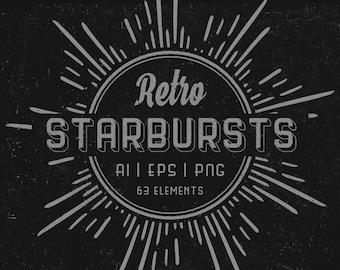 Set of 63 Retro Starbursts elements  - Vintage starbursts - Vector and PNG - Digital graphics - digital download