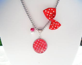 Red polka dots cabochon necklace