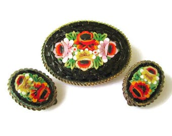 Italian Micro Mosaic Set/ Black Oval Micromosaic Brooch/Floral Brass Tone Demi / Yellow Red Pink Flowers Mosaic/  Rope Bezel Clip Earrings