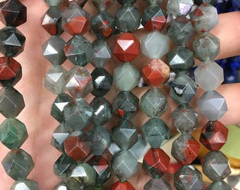 Red Gray Bloodstone Beads, Natural Gemstone Beads, Diamond Faceted Beads, Nugget Beads, Loose Stone Beads 8mm 10mm 15''