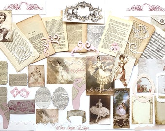 Ballet Themed French Journalling Kit - 50 Vintage French Book Pages,  Inspiration Kit ,  Scrapbook Kit  ,  Scrapbooking , Ballet Journal Kit