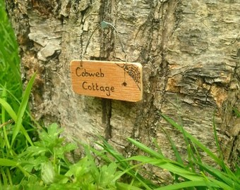 Sign for fairy garden - house name - Cobweb Cottage