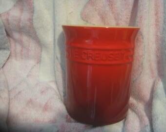 "LE CREUSET Utensil JAR Red 5 3/4"" Tall"