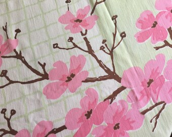 Vintage Broadcloth Tablecloth Cherry Blossom 54 Inch Lunch Cloth