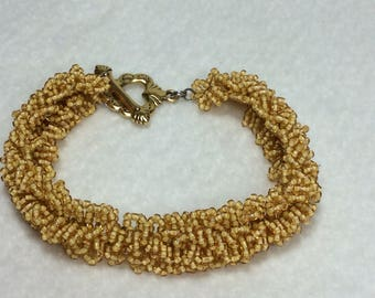 Gold Seed Beed Bracelet With Gold Plated Clasp