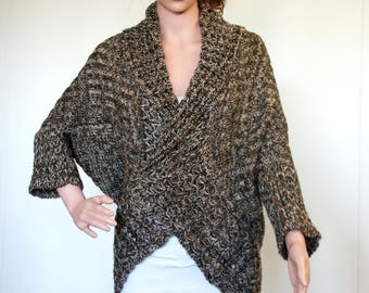 Exclusive Warm Soft Hand Knitted Hand Made Alpaca Wool Sweater/Poncho, Jumper, Bolero Ruana brown beige ecrue boho chic