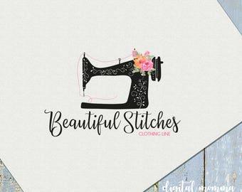 Premade Floral Sewing Logo, Beautiful Stitches Logo, Sewing Machine , Seamstress Logo Design