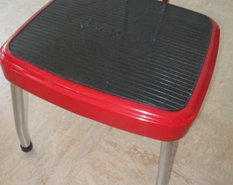 Vintage COSCO Restored Steel Step Stool Turquoise Red Chrome Bathroom Kitchen : red step stool - islam-shia.org