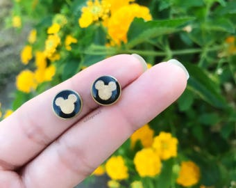 Black and Gold Mickey Studs | Brass Gold Dipped Earrings
