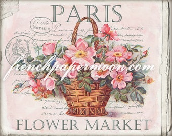 Digital Paris flower market Image, French Pillow Transfer, Large Image, Roses, Instant Download