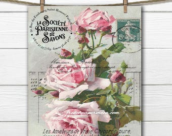 Vintage French Shabby Rose Digital, Large Image, Instant Download, French Rose Pillow Transfer, Scrapbooking