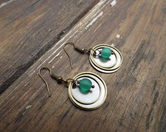 """timeless"" earrings made of opaque green blue Czech glass beads"