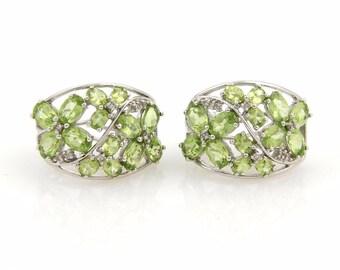 17287 - Estate Peridot & Diamonds 14k White Gold Wide Curve Earrings