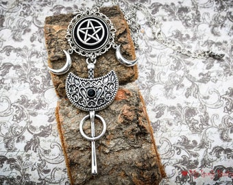 Sacred Geometry - velvet padded pentagram - silver moon - pagan geometric - long necklace -black lovers - silver moon