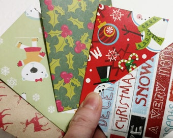 5 Christmas Gift Card Envelopes, Gift Card Holder Kit With Note Cards, Mini Envelopes, Deer, Holly, Snowman, Lunchbox Notes, Coworker Gift