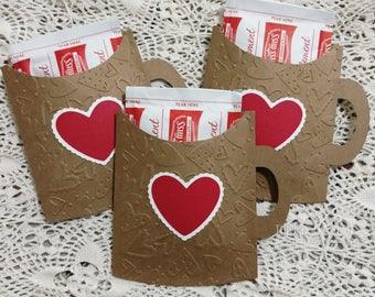 5 Cocoa Pockets, Pocket Mugs, Hot Chocolate Pockets, Cocoa Sleeve, Cocoa Wedding Favor, Gift Card Holder, Friend Valentines, Classroom Gift