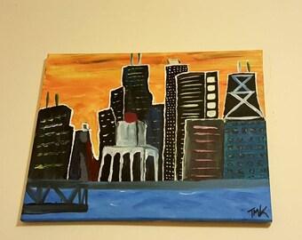 "Whimsical acrylic painting of Chicago skyline. Dorm decoration, new home decor, boys room art. Handmade and original painting. 16"" x 20"""