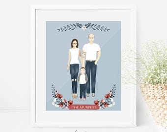 Custom portrait illustration- DIGITAL personalized family drawing, children baby wedding printable,card gift mother's day gift, home gift