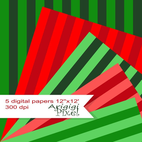 instant download striped collage sheet, red, green, Christmas color, festive background, digital paper pack, card making, printable