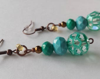 Turquoise-Blue & Copper Earrings