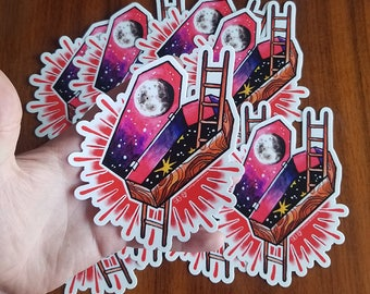 Cosmic Coffin Tattoo Space Art Sticker