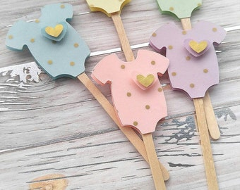 Gender Neutral Baby Shower Cupcake Toppers - Pastel Cupcake Toppers - Gold Polka Dot Cupcake Toppers - Gender Reveal Baby Shower - 24pc.