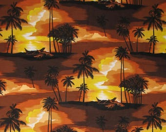 Hawaiian Fabric, Tropical Fabric, Palm Trees, Ocean, Waves,Beach,Water,Outrigger Canoes, Boats, Clouds, Island,Quilt Fabric, FQ, Fat Quarter