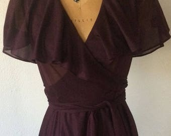 Vintage 1970s Purple Wrap Dress Flutter Sleeve