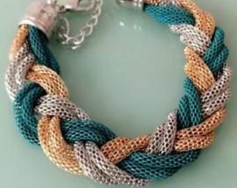 Tri-tone Chain-Maille Bracelet