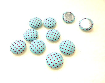 10 cabochon, fabric, 12mm, light blue / red