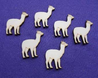 6 Alpacas, wood, 4 x 3.5 cm (10-0030B)