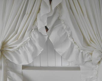Shabby Chic Curtains 200 X 84 Long With 1 Pair Tiebacks Prairie Ruffles