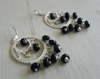 Bohemian earrings, hoop earrings, Lampwork, trendy ethnic, black and silver beads