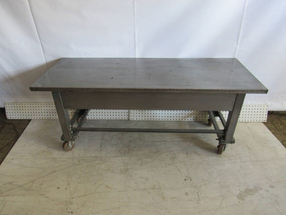 Industrial rolling cart mid century modern steel