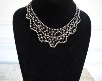 Vintage Rhinestone Silver Tone Bib Choker Collar Necklace