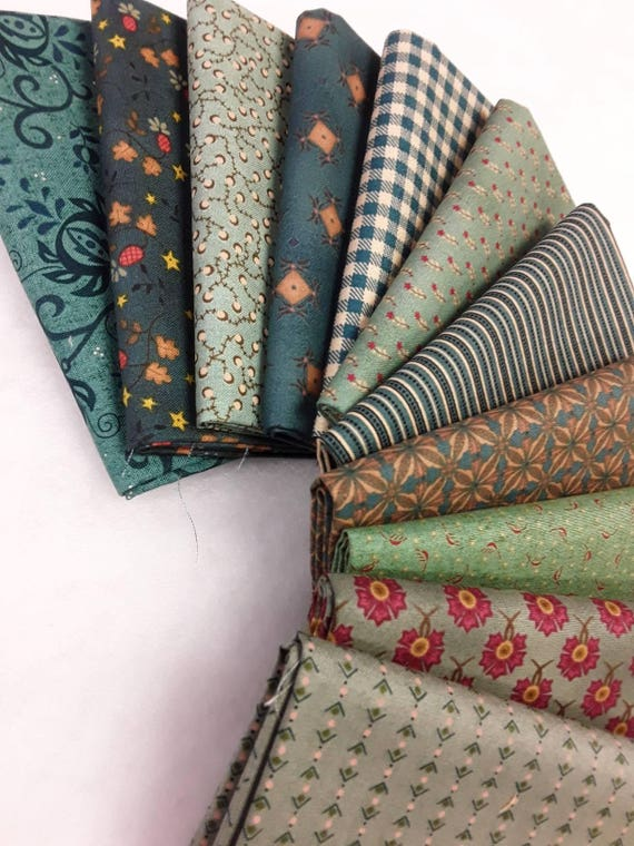 Kim Diehl Fat Quarter Bundle of 11 Greens. All Fabrics From Henry Glass. Flowers, Geometric, Stripe, Vines and Gingham to Add To Your Stash