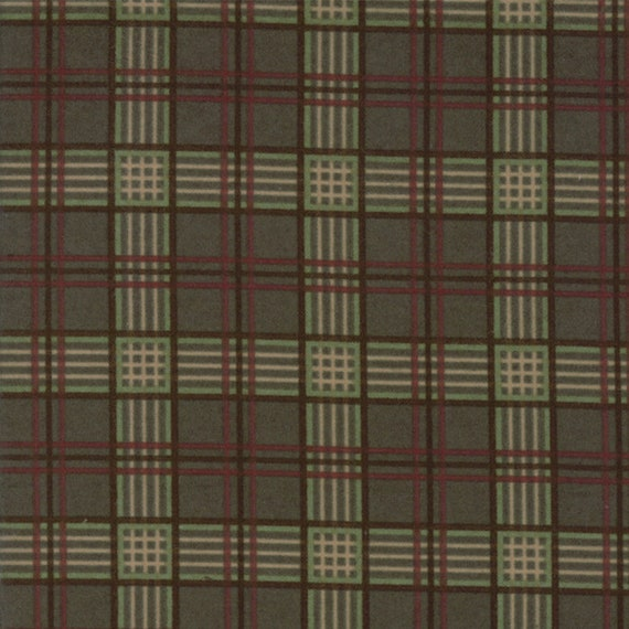 Forrest Green Plaid Flannel With Red, Light Green, Tan and Brown From Holly Taylor Fall Impressions Moda Fabric By The Yard 6654 14F