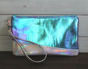 Mermaid Purse, Wristlet Wallet, Clutch Purse, Holographic Purse, Gifts for Mom, Vegan Leather Purse