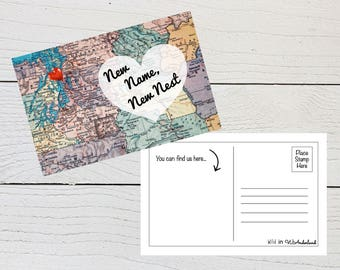 New Address Postcard, Newlywed Address Announcement, New Last Name, New Nest, Just Married, New Home, New Apartment, Moving In Together