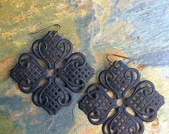 Sale earrings Black earrings filigree earrings large earrings boho earrings