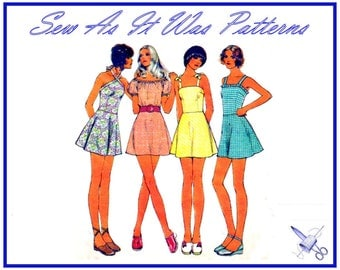 """1970s Style 3746 Vintage Sewing Pattern Shoulder Strap Fitted Flared Mini Dresses Peasant Bodice Bows Halter Neck Size 14 Bust 36"""" 92cm"""